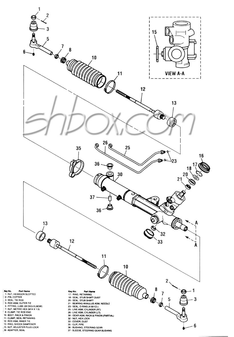 Front suspension exploded view · rack and pinion exploded view