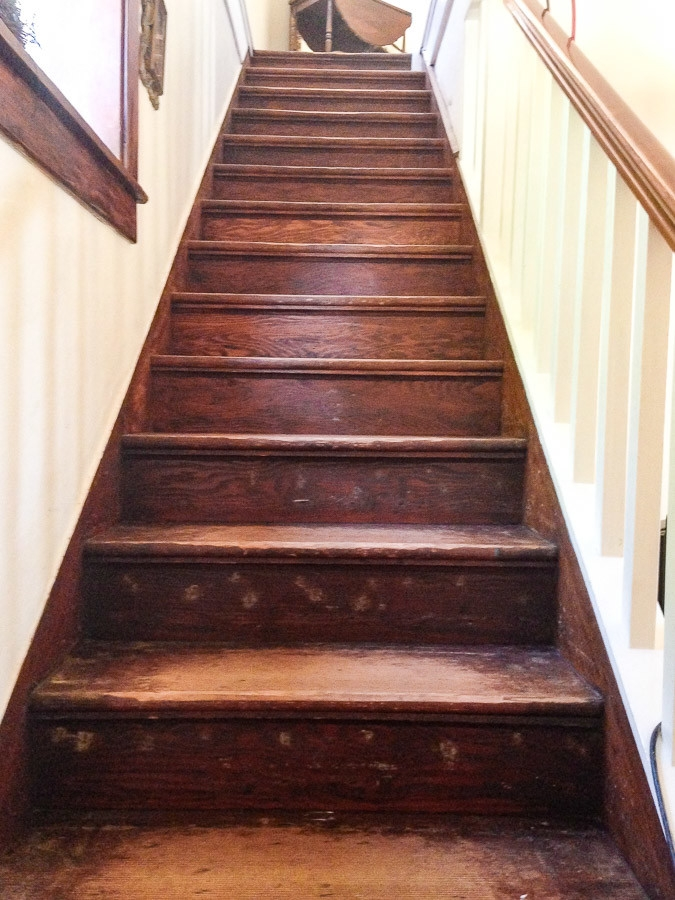How To Refinish Old Wood Stairs She Holds Dearly   Sanding And Staining Stairs   Pine   Stair Railing   Wood Stairs   Stair Case   Stair Risers