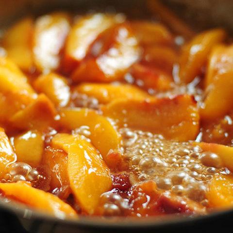 Fried Nectarines Recipe with Vanilla Mascarpone from shewearsmanyhats.com