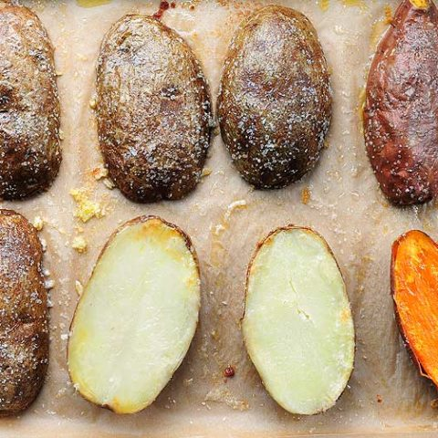 quick baked potatoes cut on half