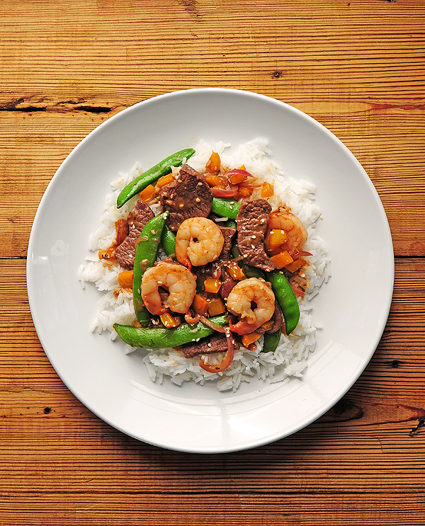 Hibachi Style Garlic Steak and Shrimp
