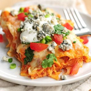 Buffalo Chicken Enchiladas Recipe | shewearsmanyhats.com