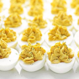 Eggs filled with yolk, mayonnaise and mustard.