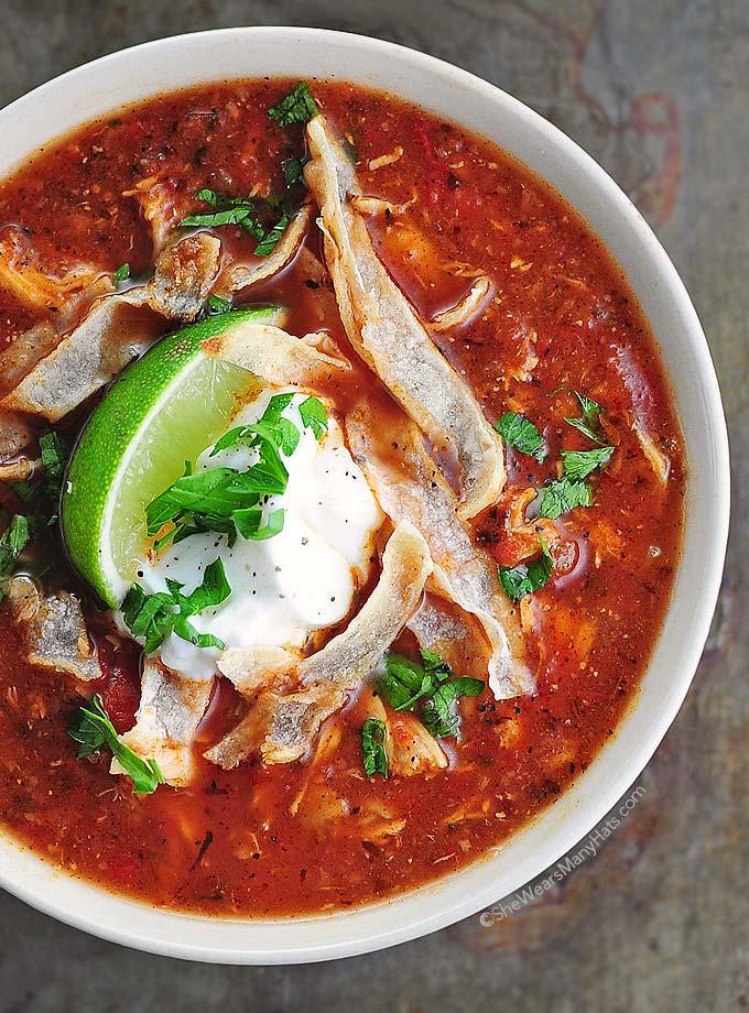 Easy Chicken Tortilla Soup Recipe | shewearsmanyhats.com
