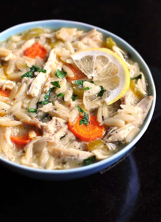 Lemon Chicken Orzo Soup Recipe   shewearsmanyhats.com