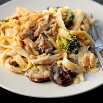 This Turkey Tetrazzini is a delicious way to use leftover turkey. This easy pasta casserole is made with turkey, mushrooms, broccoli, parmesan and other savory ingredients.
