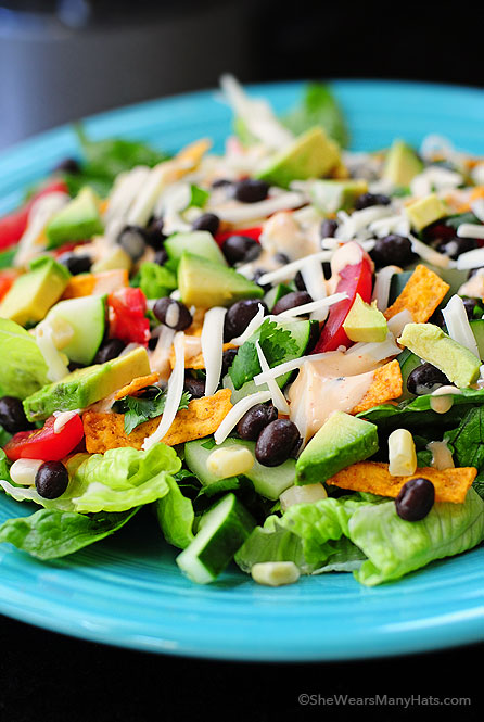 This Black Bean Mexican Salad just hits the spot! It's a fabulous salad to serve as a main dish for a group.