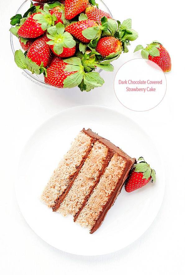 Dark Chocolate Frosting with Strawberry Cake Recipe | shewearsmanyhats.com