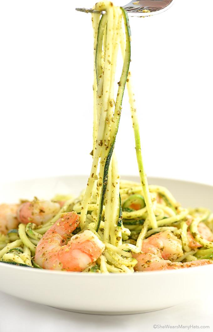 Shrimp and Pesto Zoodles Recipe shewearsmanyhats.com