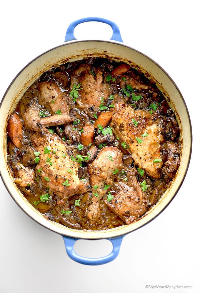 Delicious and Easy Coq au Vin Recipe | shewearsmanyhats.com