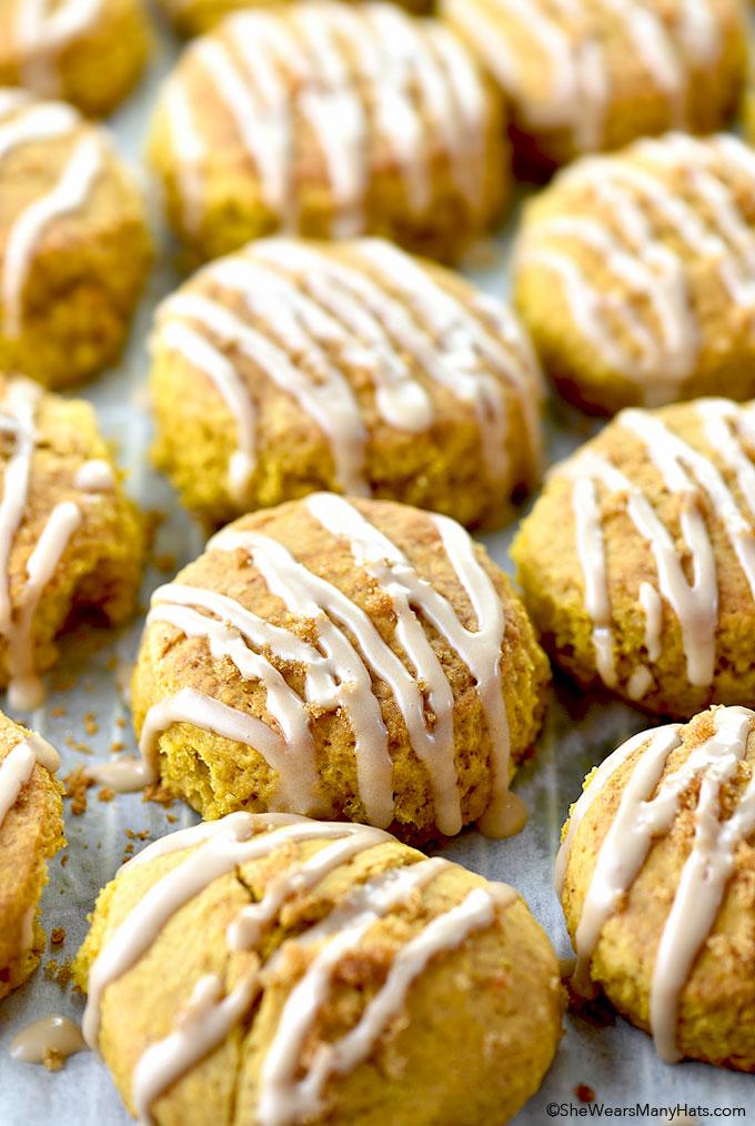 Pumpkin Scones with Vanilla Glaze Recipe shewearsmanyhats.com