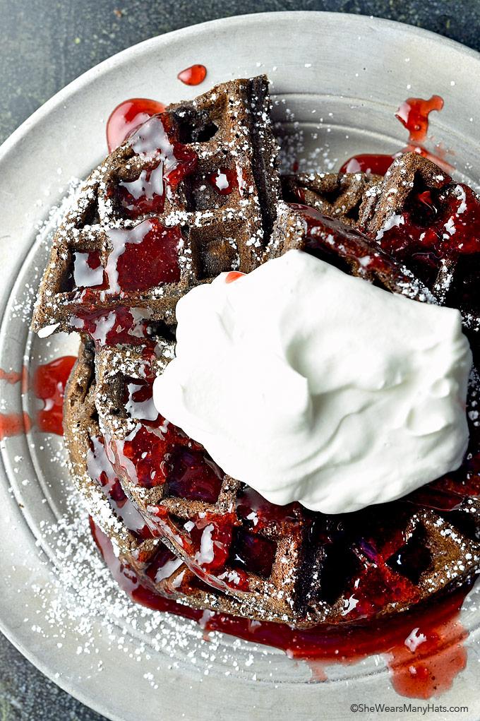 Chocolate Whole Wheat Waffles Recipe | shewearsmanyhats.com