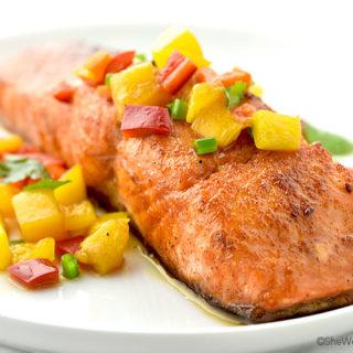 Sweet and Spicy Glazed Salmon Recipe | shewearsmanyhats.com