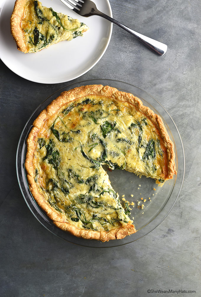 Sautéed Onion Gruyere Spinach Quiche Recipe | shewearsmanyhats.com