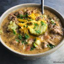 Homemade Cheeseburger Soup Recipe | shewearsmanyhats.com