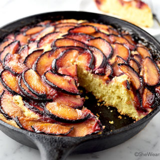 Easy Plum Skillet Cake Recipe   shewearsmanyhats.com