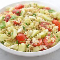 Easy Cucumber Tomato Couscous Recipe | shewearsmanyhats.com
