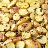 Lemon Garlic Parsley Roasted Potatoes Recipe | shewearsmanyhats.com