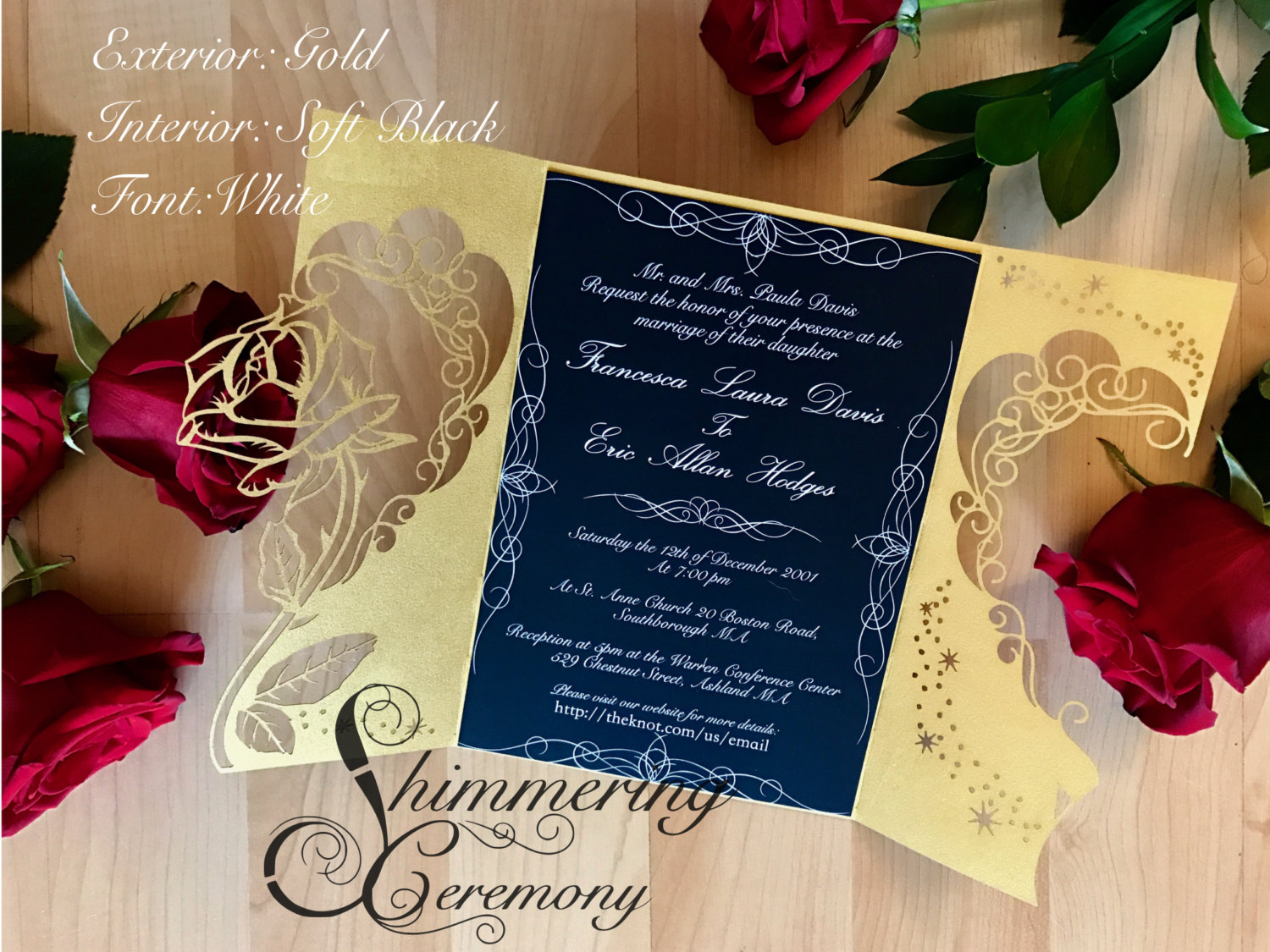 Beauty And The Beast Inspired Rose Gate Invitation Shimmering Ceremony