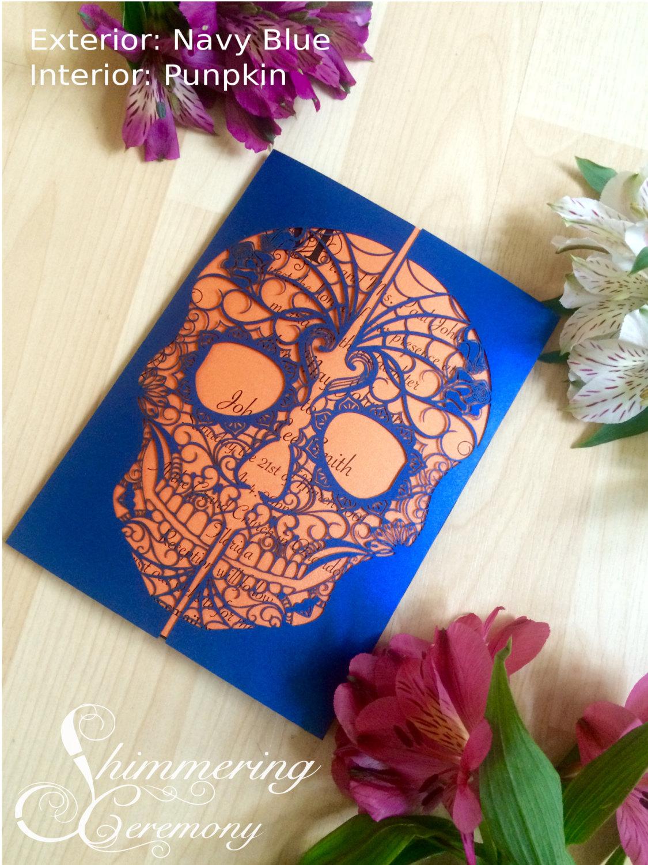 Day Of The Dead Skull Laser Cut Wedding Invitation Detailed Flowers Dia De Los Muertos