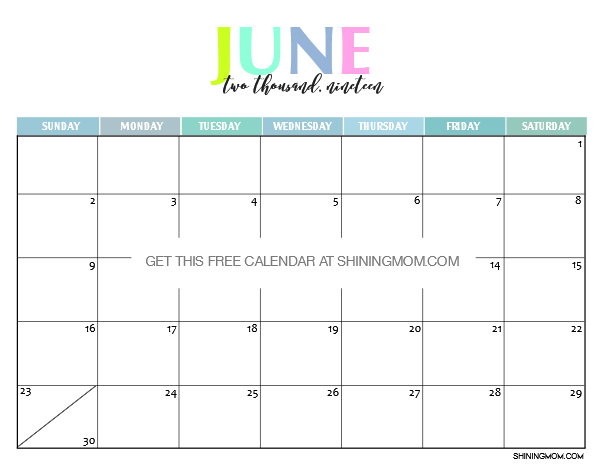 Free Printable 2019 Calendar: Beautiful and Colorful!