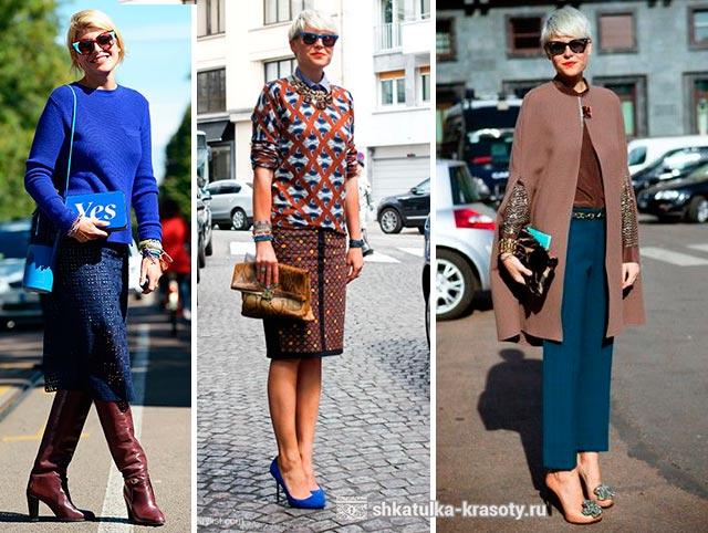 Giysilerde kahverengi ve mavi
