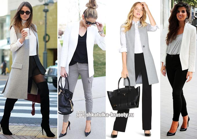 Combinaison de gris avec blanc et noir dans des vêtements