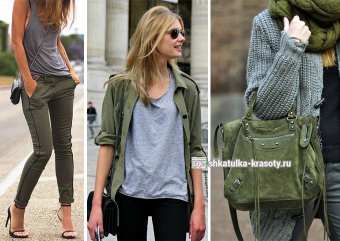 La combinaison d'olivier et de gris dans des vêtements