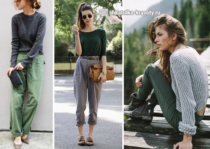 옷에 어두운 녹색과 회색의 조합