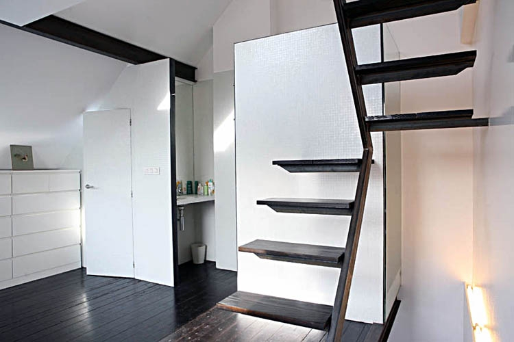 Mini House In Belgium — Shoebox Dwelling Finding Comfort Style   Space Saving Staircases For Small Homes   Design   Attic Ladder   Wood   Ladder   Loft Stairs