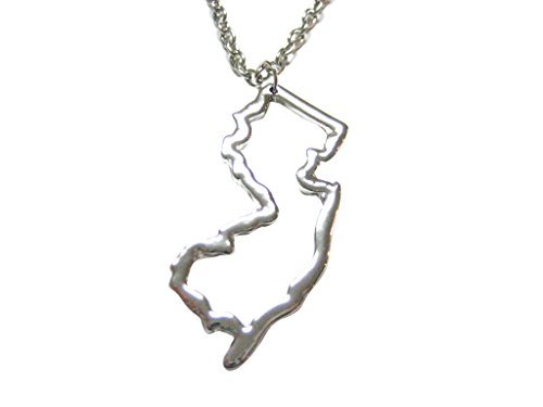 Silver Toned New Jersey State Map Outline Pendant Necklace   Shop     Silver Toned New Jersey State Map Outline Pendant Necklace