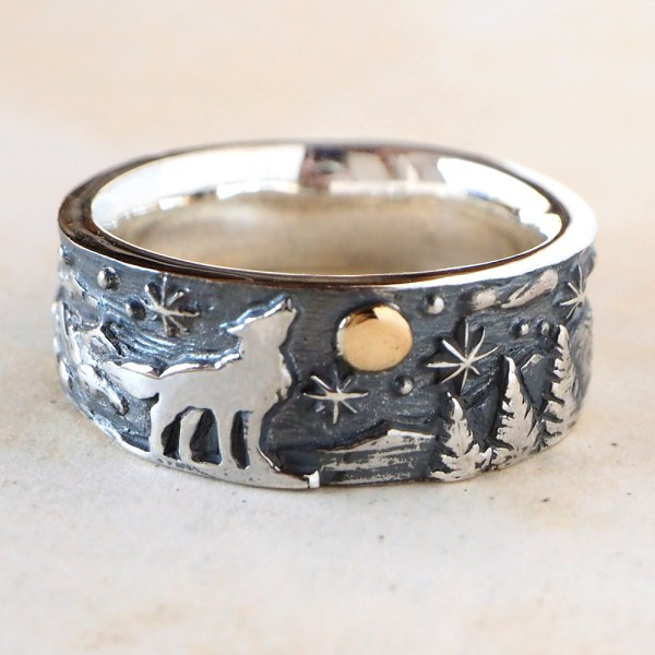 Craftcafe   Rakuten Global Market  Product made in handmade     Product made in handmade accessories handmade jewelry ring animal wolf wolf  Tsukiboshi tree nature Lady s men