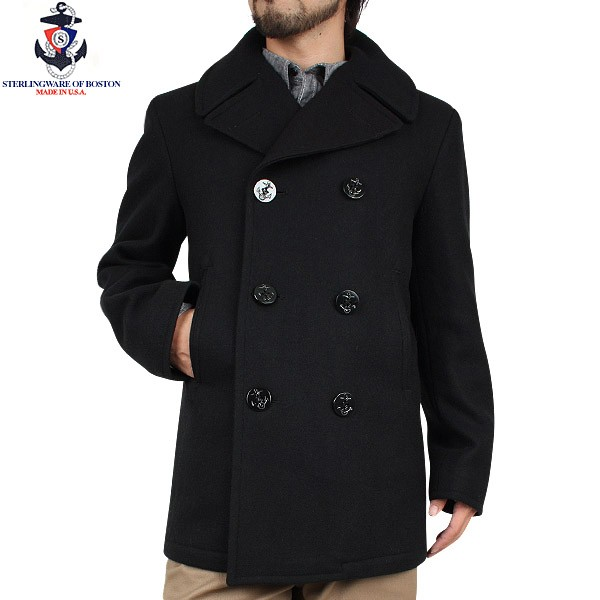 Knitted Men Style Navy Peacoat