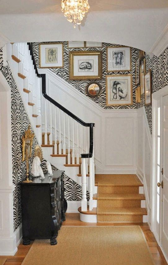 Amazing Animal Print Wallpaper Ideas – Shop Room Ideas   Zebra Print Stair Carpet   Staircase Remodel   Ideas   Stair Treads   Leopard Print   Carpet Runner