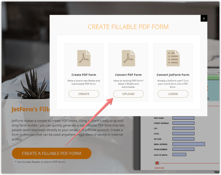 How to import pdf fillable form   JotForm Create fillable PDF form   Convert PDF Form
