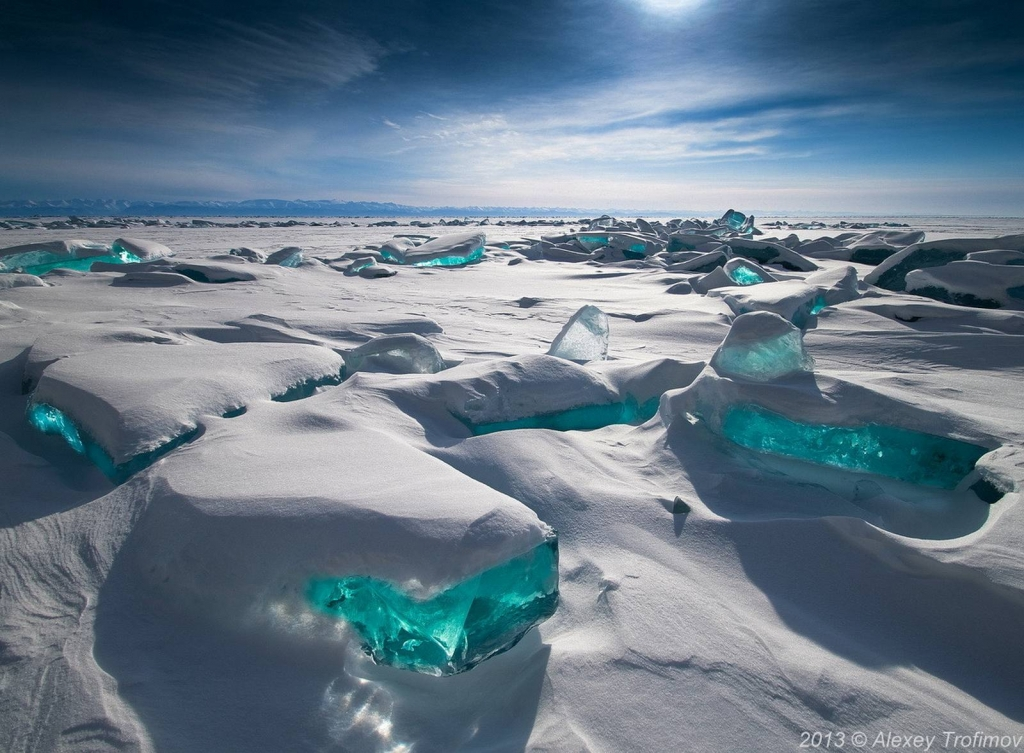 Turquoise Ice Northern Lake Baikal Russia Beautiful