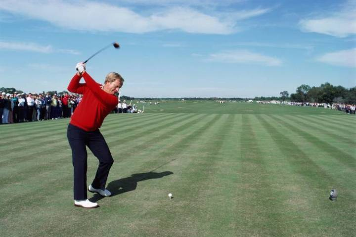 The Downside of the Modern Golf Swing   WSJ Jack Nicklaus lifts his left heel on his backswing as he tees off