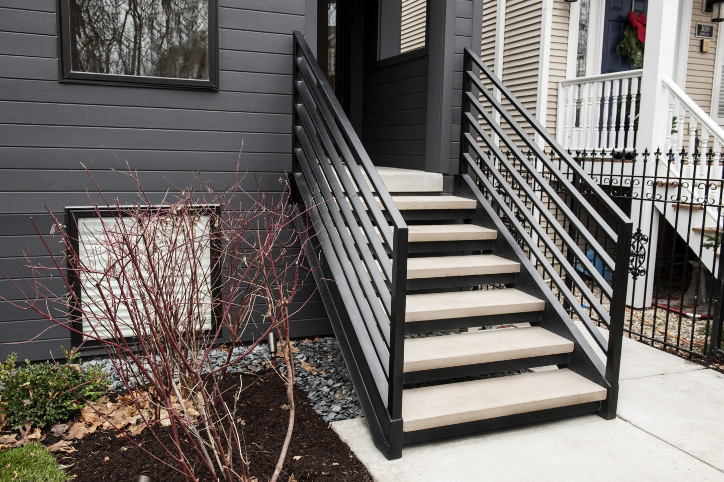 Looking For Custom Mid Century Modern Open Riser Straight Stairs | Mid Century Modern Stair Handrail | Wrought Iron | Basement | Bannister | Modern Style | Contemporary Curved Staircase