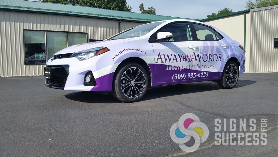 Away with Words Custom Car Wrap Design   Signs for Success When you want an attractive logo designed  then a custom wrap designed   then your