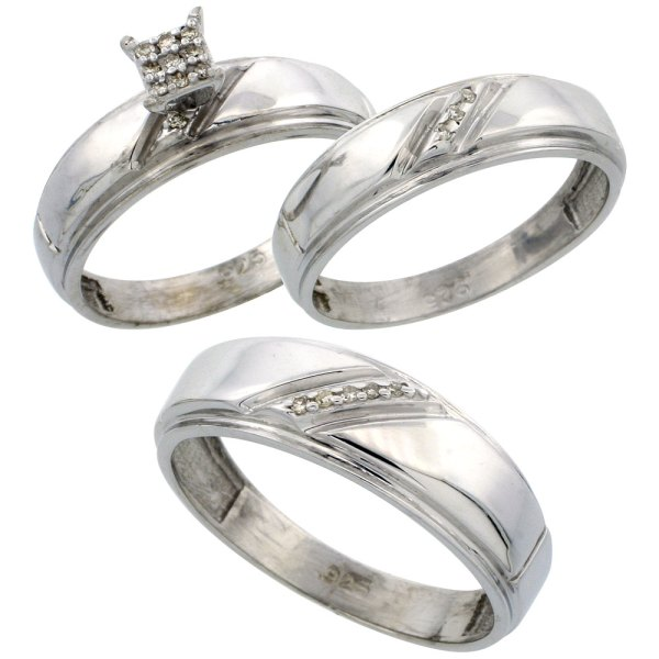 Sterling Silver Jewelry Diamond Rings Trio Ring Sets Sterling Silver Diamond Trio Engagement Wedding Ring Set for Him and Her 3  piece 7