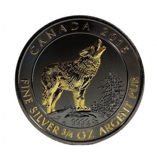 Canada silver grey wolf ruthenium and gold gilded coin Buy Silver     Ruthenium and Gold Gilded Wolf   Canada grey wolf silver coin VAT free