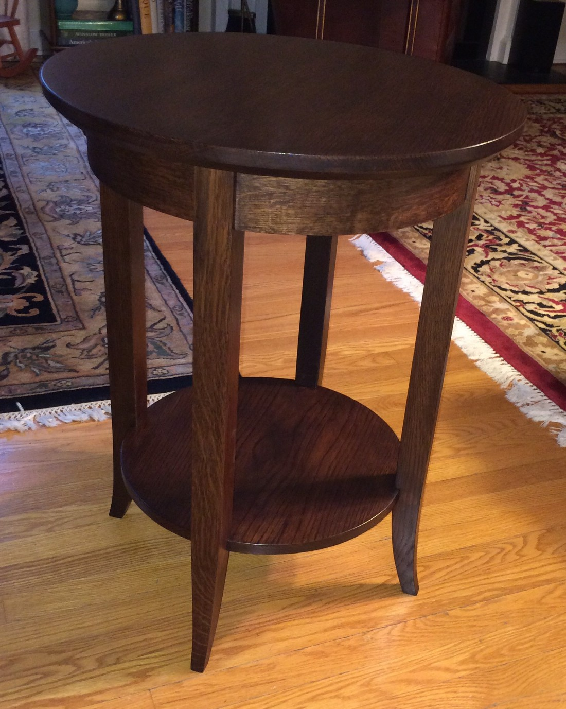 Round White Oak Side Table Silverpearl Woodworking