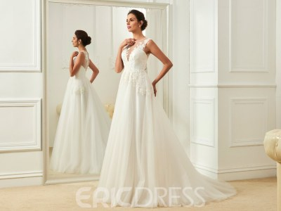 Ericdress Charming Jewel Appliques Backless A Line Wedding ...