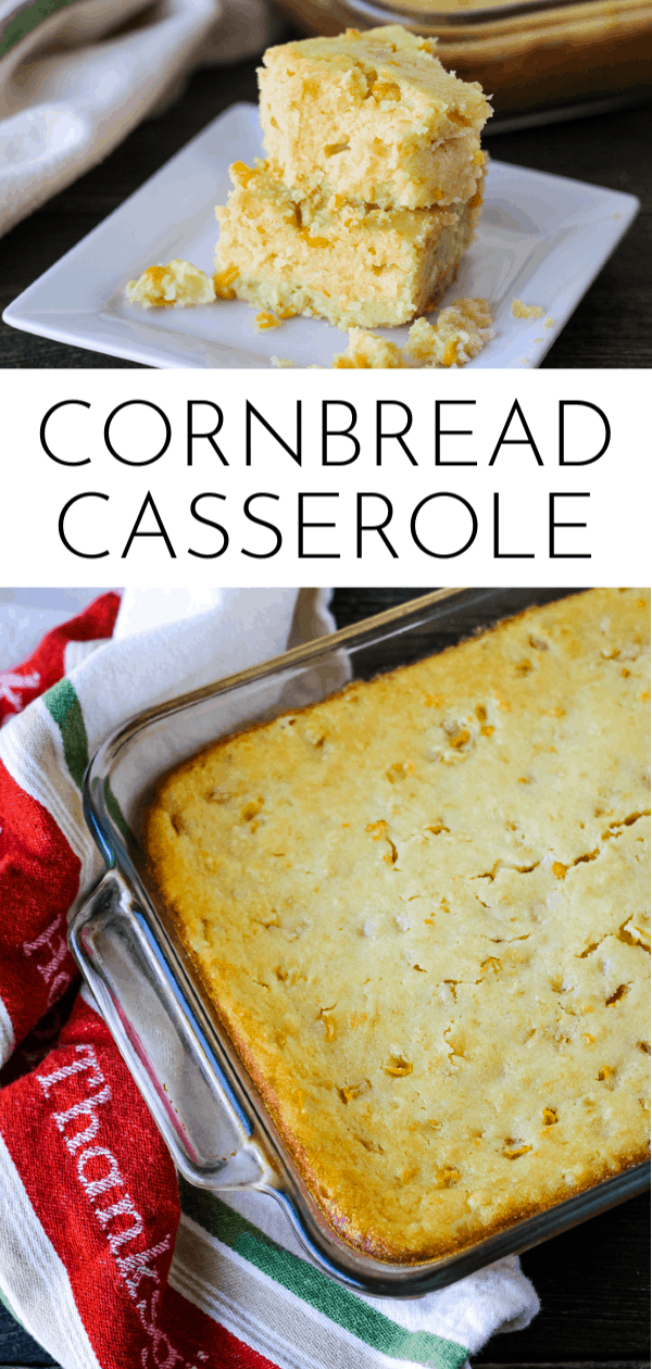 Tender, moist and full of sweet corn, Cornbread Casserole is the perfect side dish for Thanksgiving! via @nmburk