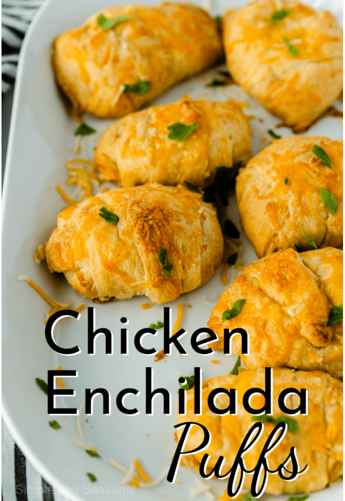 white baking pan filled with cooked chicken enchilada puffs