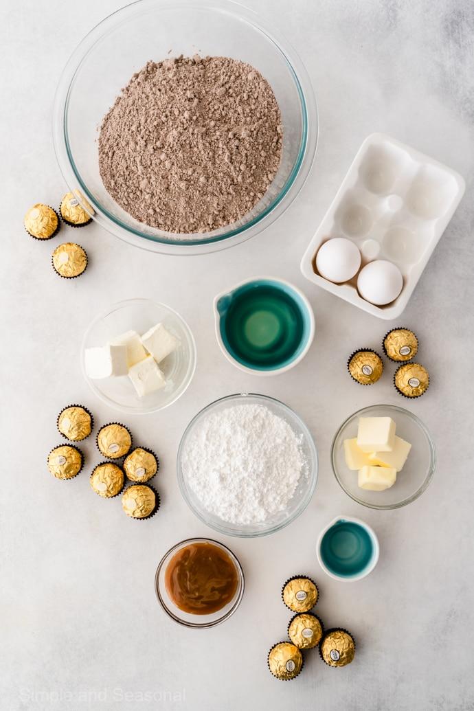 ingredients for ferrero rocher brownie bites