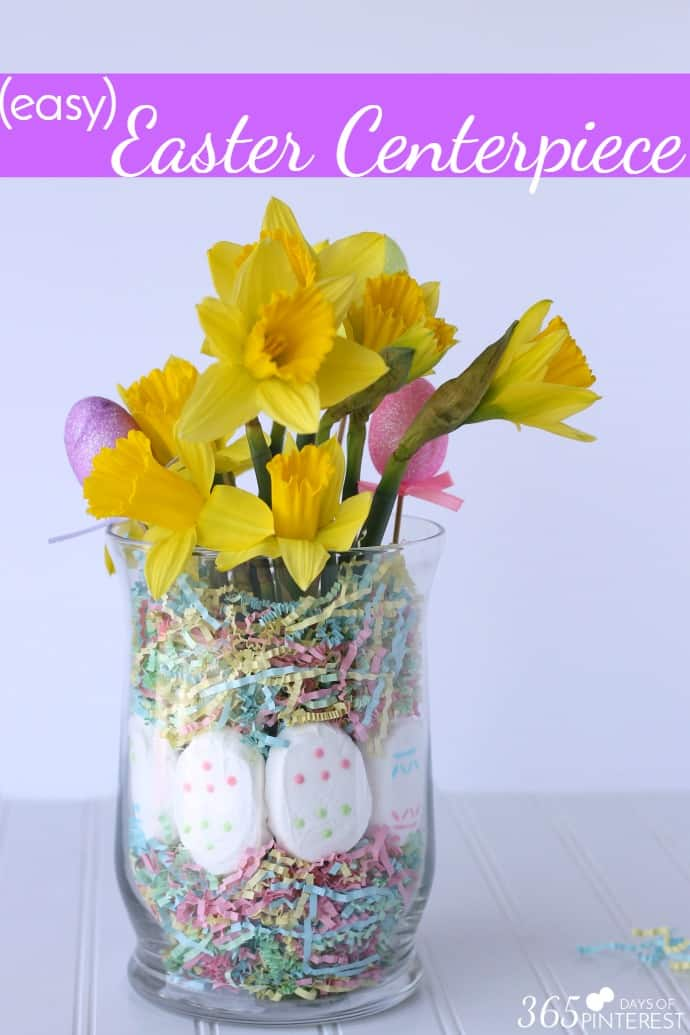 Add a fun pop of color to your table with this easy Easter centerpiece. It doesn't need any special tools or supplies and is done in minutes! via @nmburk