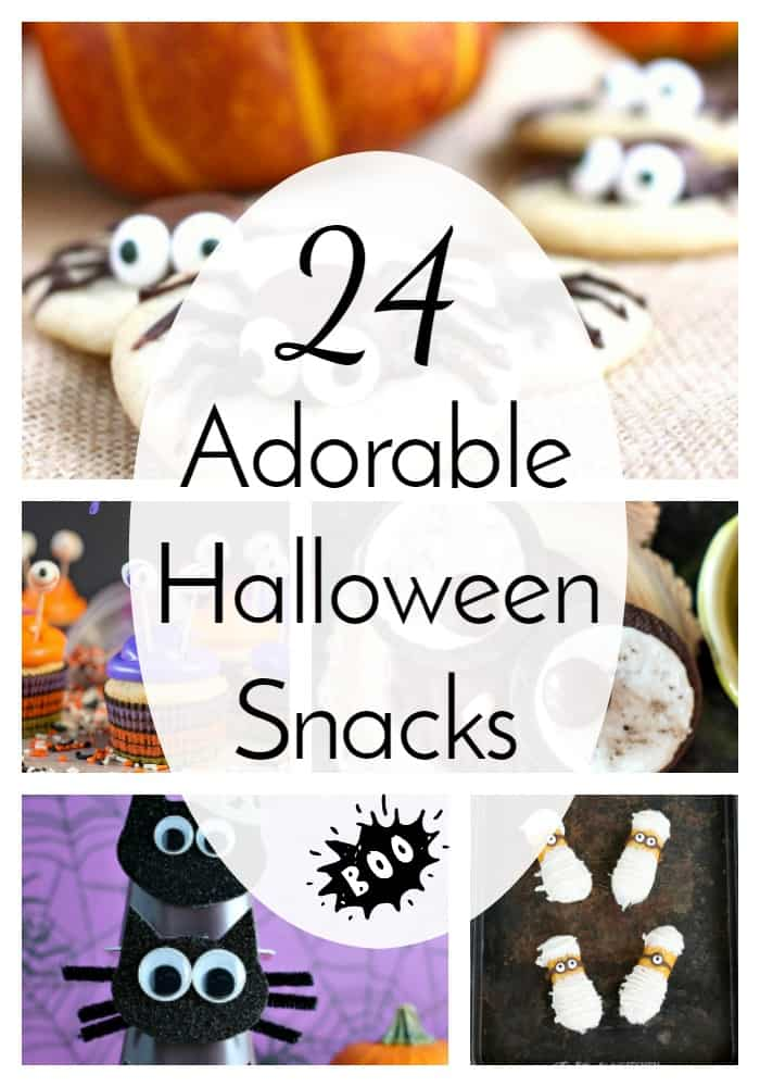 24 different Halloween snacks that are all cute and kid-friendly. No gross or gory tricks here! Just fun little treats perfect for class parties! via @nmburk