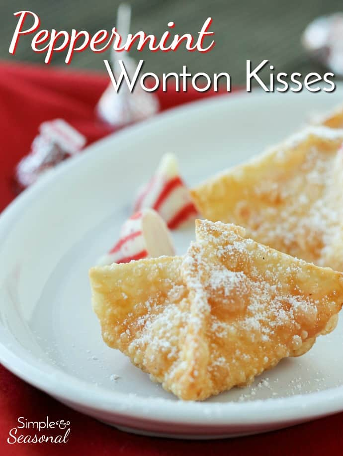 These cute Peppermint Wonton Kisses are filled with Candy Cane Kisses and are perfect for Christmas cookie exchanges. You only need 4 ingredients! via @nmburk