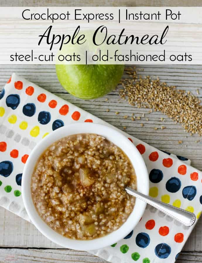 Start the morning right with this delicious and healthy oatmeal! Use steel-cut or rolled oats in the pressure cooker (Crockpot Express/Instant Pot) for a quick breakfast. #CrockpotExpress #InstantPot #PressureCookerRecipe #Breakfast #Oatmeal  via @nmburk